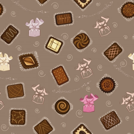 savor: Seamless pattern with chocolate candies in paper wrapping Illustration