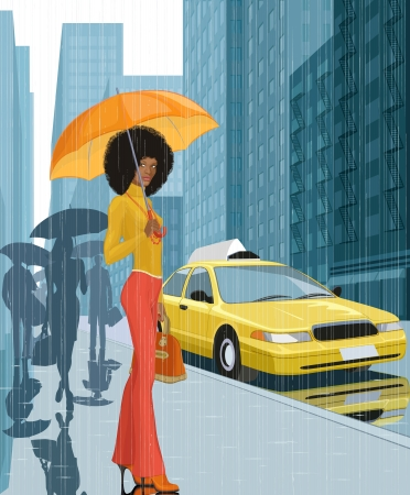 Young black woman with umbrella in the city in rainy weather Vector