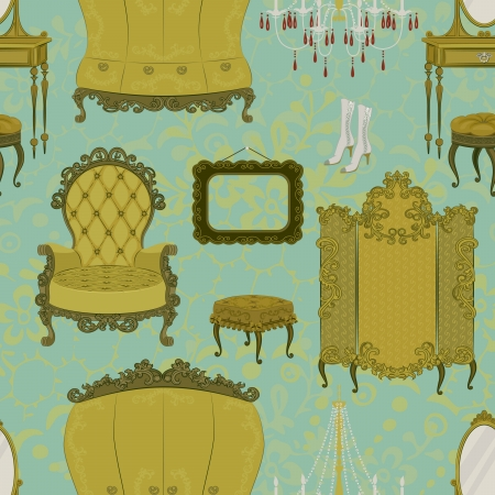 kleedkamer: Naadloos patroon met antieke meubels Stock Illustratie