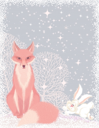 Christmas card with a pink fox and a fluffy hare in the forest Vector