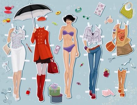 гардероб: Бумажные куклы молодая красивая девушка и одежду для нее Иллюстрация