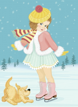figure skating: Little girl skating and playing with her dog
