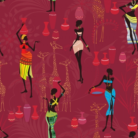 african: Seamless pattern with african women bearing clay pots