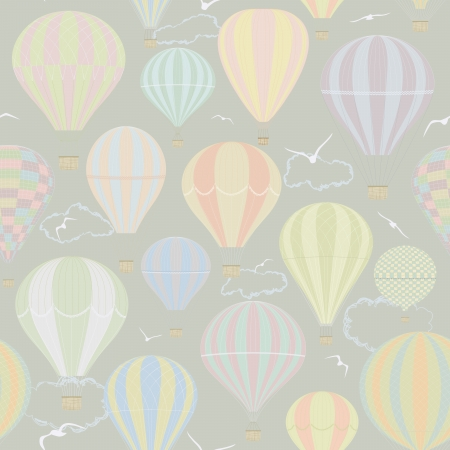 air animals: Seamless pattern with hot air balloons Illustration