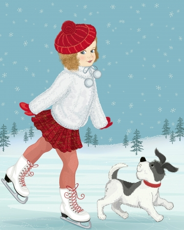 figure skater: Little girl skating accompanied by her dog