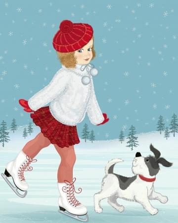 Little girl skating von ihrem Hund begleitet Standard-Bild - 15701423