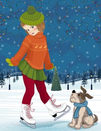Kleines Mädchen mit einem Hund zu Eisbahn Standard-Bild - 15761045