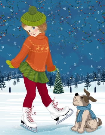 Little girl with a dog at skating rink Stock Vector - 15761045