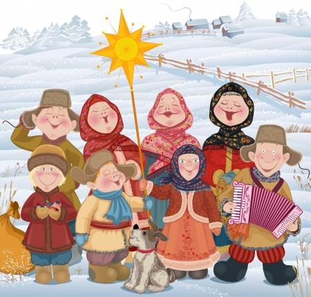 Jongeren en kinderen in Russisch dorp zingen van kerstliederen in Christmastide