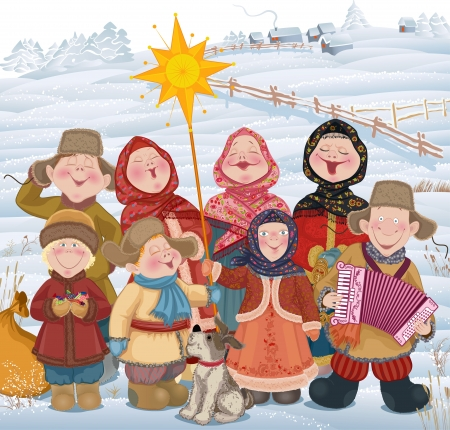 Young people and children in Russian village singing of Christmas carols in Christmastide   Illustration