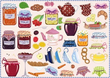 mermelada: Tea colecci�n de frascos de mermeladas, tazas de t�, teteras, frutas y reposter�a