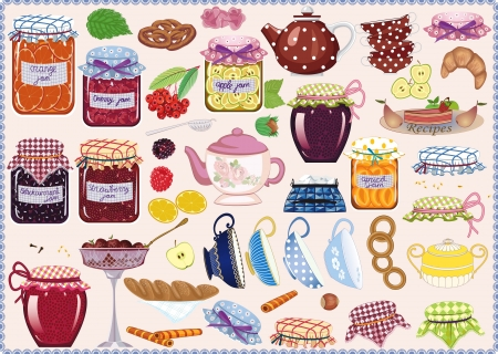 Tea collection of jam-jars, teacups, teapots, fruits and pastry Illustration