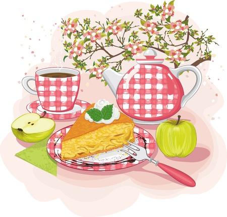natura morta con fiori: Still-life con una fetta di torta di mele su un piatto Vettoriali