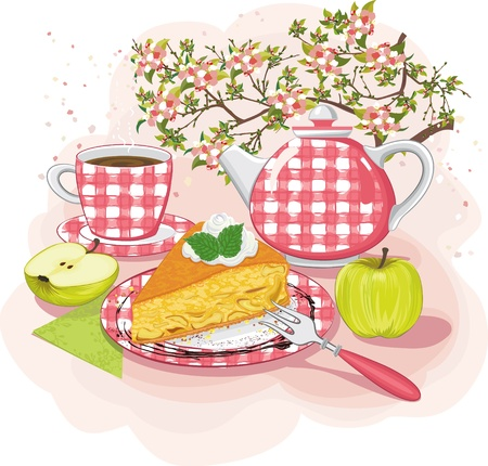 teatime: Still-life with slice of apple pie on a plate  Illustration