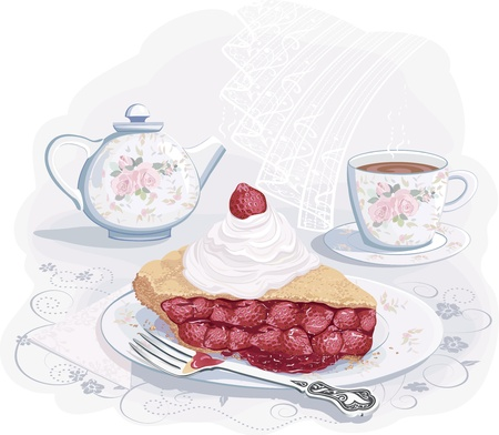 Still life with piece of strawberry pie on plate Vector