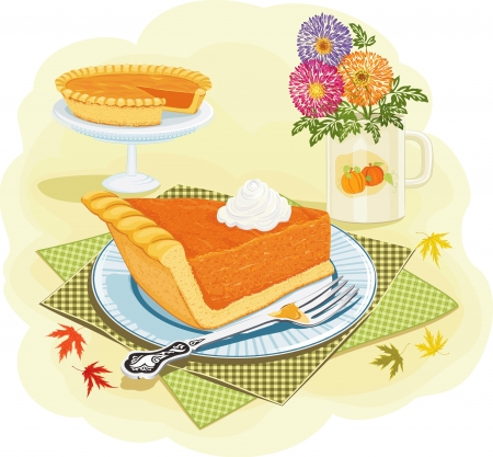 Piece of a pumpkin pie with whipped cream on a plate Vector