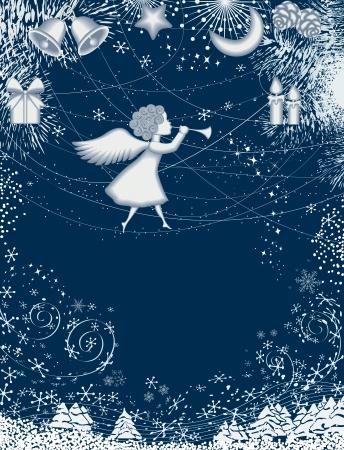 kârlı: Angel ile Noel kartı Çizim