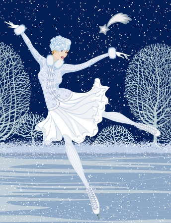 patinaje sobre hielo: Tarjeta de Navidad con patinador Vectores