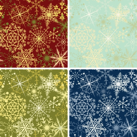gold textures: Four Christmas backgrounds with snowflakes