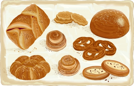baked goods: Illustration of baked goods and bread products. All objects are grouped.