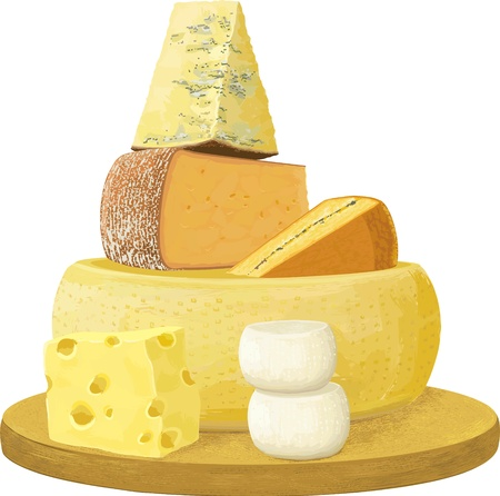 kaas: Groep van verschillende kaas op een witte achtergrond. Ieder object wordt geïsoleerd en gescheiden lagen. Stock Illustratie