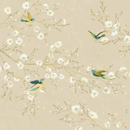 Tweeting birds perching on the branches of flowering trees in the garden Illustration