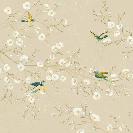 rúdon ülés: Tweeting madarak rúdon ülés az ágak virágzó fák a kertben