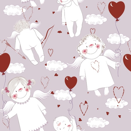 Angels with hearts shaped balloons on clouds background Vector