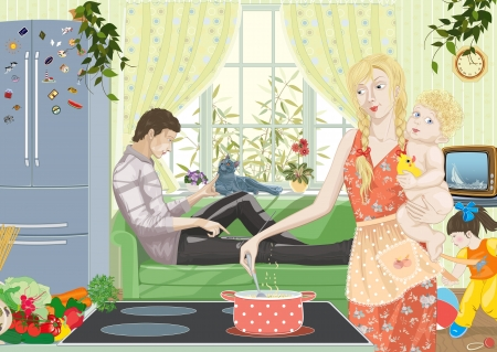 tv stand: Family with two children at home. A wife preparing dinner with a child in her arms. A husband relaxing on the couch with a laptop. A little girl playing with a ball. Illustration