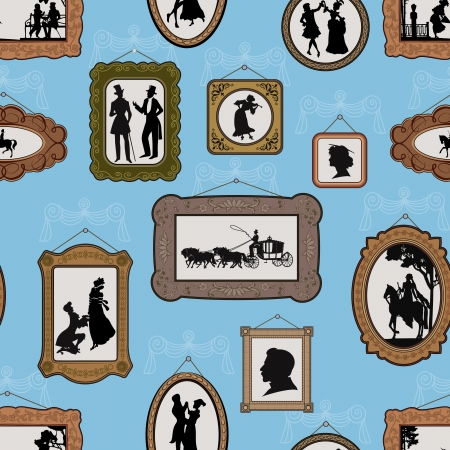 picture person: Background with pictures in vintage silhouette design in antique frames hanging on the wall