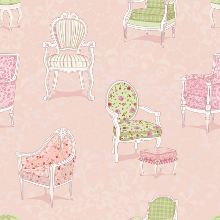 Seamless pattern with antique armchairs Vector