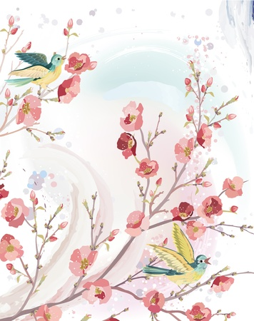 Spring card in watercolor technique with singing birds on branches of a blossoming tree. Vector