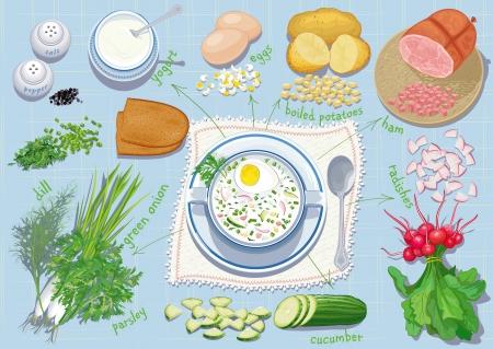 ensalada rusa: Okroshka - Sopa tradicional rusa verano frío con hortalizas, hierbas picadas, el jamón y los huevos sobre la base de yogur y todas las necesidades ingredientes para cocinarlos. Cada objeto está aislado. Vectores