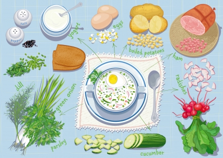 Okroshka - traditional Russian summer cold soup with chopped vegetables, herbs, ham and eggs based on yogurt  and all ingredients needs for cooking it. Each object is isolated.