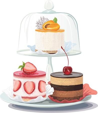 Torta de la fresa y cremoso pastel de chocolate en un plato y tarta de albaricoque en la torta de pie bajo la cúpula de cristal sobre fondo blanco
