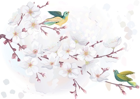 illustration blooming cherry tree in watercolor technique.
