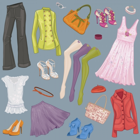 stockings and heels: Background with various female clothes and accessories