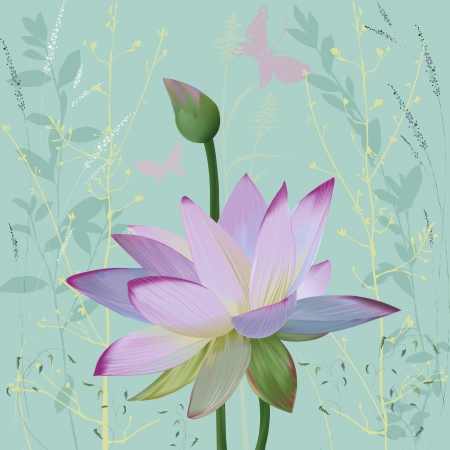 Pink lotus over abstract background with silhouettes plants. All objects are grouped Vector