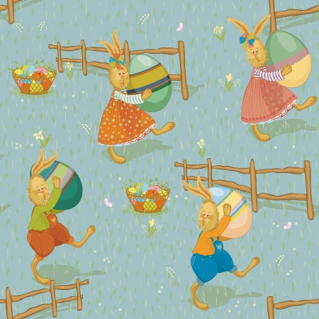 Background with funny rabbits carrying colorful easter eggs Vector