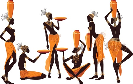 african culture: African women isolated over white background Illustration