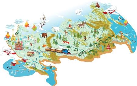 Cartoon map of Russia with a symbol of Moscow - St  Basil s Cathedral, a symbol of St  Petersburg - the Admiralty, with variety of animals living in the area and traveling people as well
