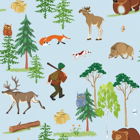 seamless hunting pattern with different wild animals living in the forest Vector