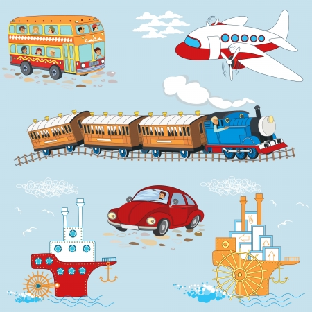 seamless pattern with cartoon vehicles Ilustrace