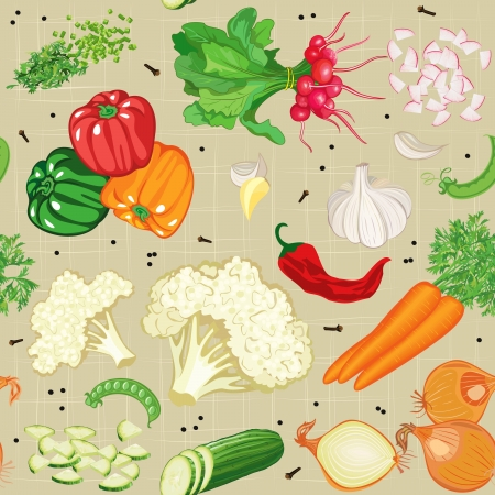 Seamless pattern with various vegetables Vector