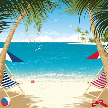 Tropical island with deck chairs under palm trees Vector