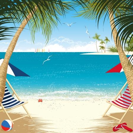 strandstoel: Tropisch eiland met ligstoelen onder de palmbomen Stock Illustratie