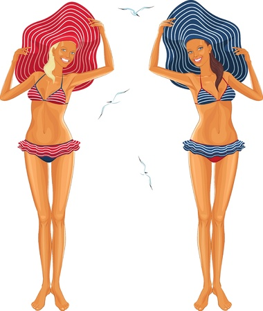 brim: Two women dressed in striped bikinis and hats with large brim Illustration