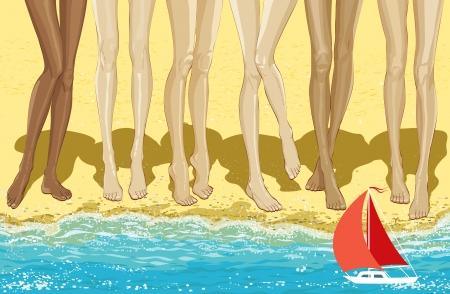 long legs: Illustration long legs of six women standing on the beach Illustration