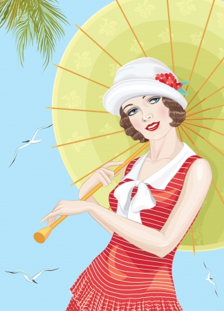 flapper: Young beautiful woman dressed in style of the twenties with an umbrella