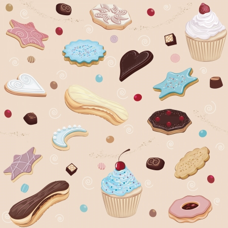 Seamless pattern with different cookies, cupcakes and chocolate  Stock Vector - 19732233